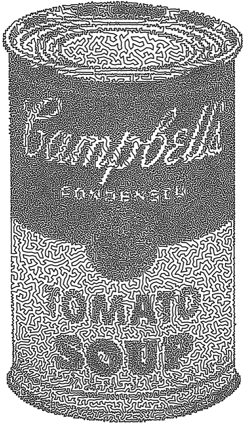 """Robert Bosch's TSP artwork """"What's Inside? This is!"""" which is based on Andy Warhol's Campbells Soup Cans"""